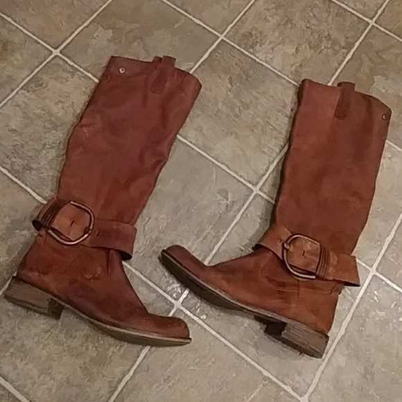 3a10820d319 Steve Madden Shoes - tall STEVE MADDEN brown leather harness BOOTS 9.5